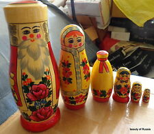 Christmas   Santa Snowmaiden WOOD Hand painted  RUSSIAN NESTING DOLL 6 PCS 7.7
