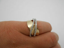 Gorgeous Wavy 14k Solid Gold Twist Band VS Diamond Band Ring Size 6.5