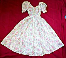 VINTAGE 80S LAURA ASHLEY FULL BACKLESS BOW DRESS UK 8