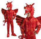 Childrens Red Dragon Fancy Dress Costume Monster Halloween Outfit M