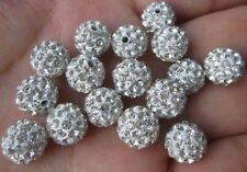 100pcs/lot 10mm white micro pave disco crystal shamballa beads bracelet spacer S