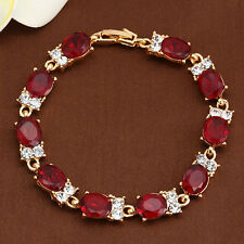 Jewelry Fashion 10KT Gold Filled Ruby Owl Charms Bracelet Crystal Cuff Bangle