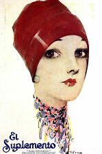 El Suplemento BEAUTIFUL GIRL w ROSE LIPS in RED CAP Art Deco Cover 1927 - Matted
