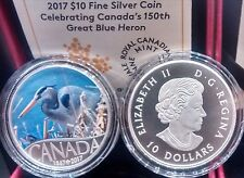 1867-2017 Great Blue Heron $10 Pure Silver Proof Coin Canada's 150th