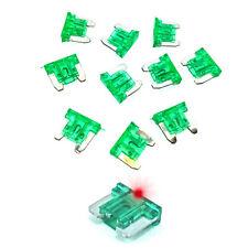30a verde LED de bajo perfil Mini Fusible de cuchilla Coche Auto Glow Golpe 30 Amp-Paquete De 10