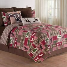 Happy Camper King Size 3 Pc Quilt Set-Quilt+2 Shams-Deer Quilt Reversible C&F
