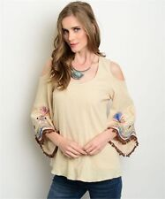 Va Va by Joy Han Boho Cold Shoulder Kimono Sleeve Embroidered Blouse Top XS NWT