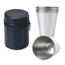 4PCS Stainless Steel Cup Mug With Case For Drinking Coffee Tea Tumbler Camping