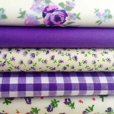 Fat Quarters Bundles PURPLE Polycotton Gingham Floral Rose Fabric Craft Bunting