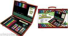 106 PIECE KIDS ART ADVENTURE SET WOODEN STORAGE BOX CASE CARRY HANDLE AVS-544
