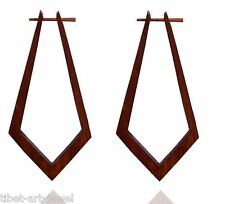 Tibetan Tribal Wooden Handmade African Long Brown Wood Stick Earring WER059