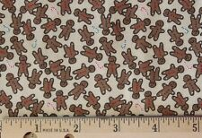 MINI GINGERBREAD & CANDY CANES on CREAM *CHRISTMAS 100% Cotton *NEW BTY