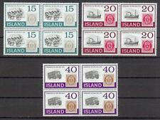 Iceland 1973  Sc# 450-52 Pony train Mail boat Mail truck blocks 4  MNH