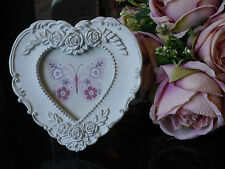 Heart Shaped French Country Vintage Style Picture Frame / Photo Frame White