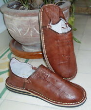 MOROCCAN LEATHER BABOUCHE Slippers  BROWN 12/46