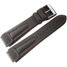 22mm Di-Modell Chronissimo Mens Long Black Red Leather German Watch Band Strap