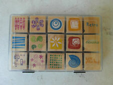 BOX of 15 WOODEN RUBBER CRAFT STAMPS - RETRO THEME, Abstracts - 3cm x 3cm
