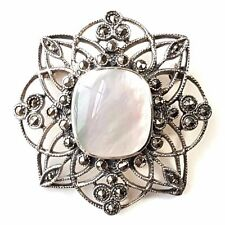 MOTHER OF PEARL STONE PIN BROOCH Marcasite Stones .925 STERLING SILVER