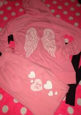 Victoria's Secret Pink Hoodie Pant Set Bling Sequin Supermodel Angel Wings NEW S