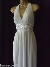 NEW £75 JANE NORMAN SIZE 8, SILVER PLEATED HALTER NECK BEAD GEM PARTY MAXI DRESS