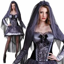 Ladies Zombie Gothic Corpse Bride Fancy Dress Costume Womens Halloween 10 12 14