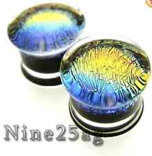 Dichro Pyrex RAINBOW 7/16 inch 000G plugs Body Jewelry