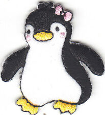 PENGUIN BABY w/PINK HAIR BOW Iron On Embroidered Patch/Arctic Animals/Penguins