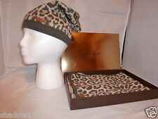 NIB COACH GRAY OCELOT Animal Print Scarf and Beanie Hat Set One Size  85538