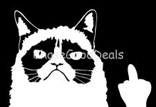 2 Pieces Funny Grumpy Cat Meme Flippin' You Off Vinyl Sticker Decals WHITE