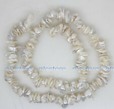 """6mm-8m natural white baroque keshi pearl stone loose beads 14.5"""" jewelry making"""