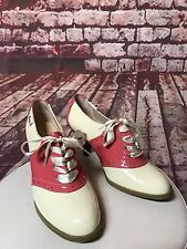 BASS Rachel Antonoff Lady Pumps Cream Pink Oxford Saddle Heels Rockabilly Sz 7.5