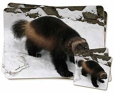 Wolferine in Snow Twin 2x Placemats+2x Coasters Set in Gift Box, AGL-1PC