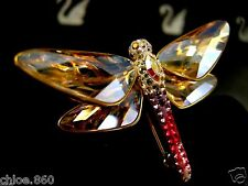 SIGNED SWAROVSKI PAVE' CRYSTAL DRAGONFLY PIN ~BROOCH RETIRED RARE NEW IN BOX