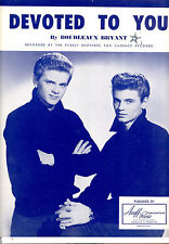 """EVERLY BROTHERS Sheet Music """"Devoted To You"""" 1958"""