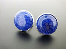 Royal Blue Dragon Veins Mens Cufflinks 20 MM With Silvertone Findings