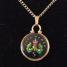 1996 Enamelled 5p Coin Pendant. Black/gold/colours. 21st Birthday/Anniversary