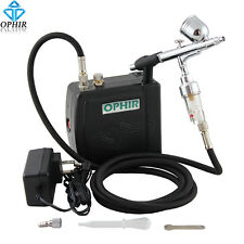 OPHIR Black 0.3mm Dual-Action Airbrush Air Compressor for Cake Tattoo Makeup