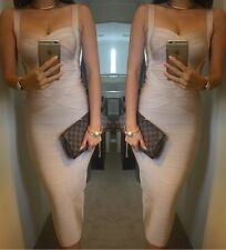Ladies Love Story CB Boutique Midi Wiggle Beige Bandage Dress Size 6 8 10 12