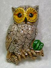 Owl Wall Sculpture Woodland Rustic Brown Gold Green Detailed Ceramic