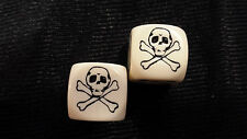PAIR OF IVORY COLOUR SKULL DICE - SKULL IS WHERE 1 SHOULD BE - BRAND NEW - 1.6CM