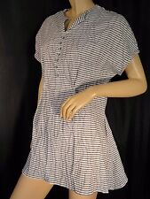 Vintage striped Crinkle peplum Top blouse M cotton blend SS 80's Black and White