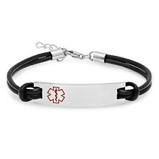 Medical ID Bracelet with Leather - Free Engraving