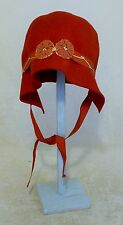 RARE FRENCH FIRE ENGINE RED CHILDS FELT CLOCHE HAT SUPERB VINTAGE CONDITION