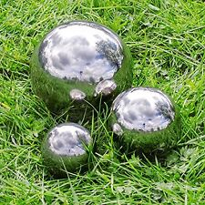 3 x Stainless Steel Sphere Garden Mirror Gazing Globes Ball 10,15 & 20cm