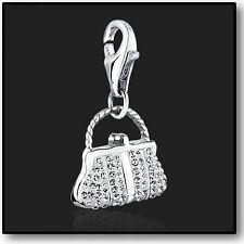 Plata Esterlina 925 Clip encanto Pulsera Con Cristal Swarovski En 3d De Bolsos