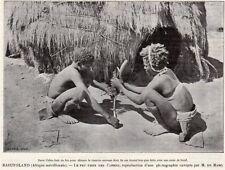 LESOTHO CAFRE FAISANT DU FEU POUR PIPE CHANVRE BASUTOLAND IMAGE 1908 OLD PRINT