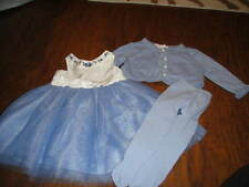 JANIE AND JACK 2012 '12 BLUE SILK TULLE FLORAL DRESS SWETAER AND TIGHTS LOT 3-6
