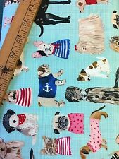 Windham Organic cotton fabric Fat Quarter Dog Breeds On Turquoise