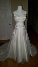 2 Pc Wedding Special Occasion Dress Beaded Top +  Skirt with Train