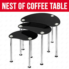 NEW BLACK GLASS OVAL NEST OF 3 COFFEE TABLES / SIDE END TABLE WITH CHROME LEGS
